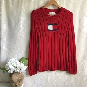 Vintage Tommy Hilfiger Red Logo Cable Knit Sweater